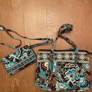 Vera Bradley Brown and Aqua Bag and Wallet Set